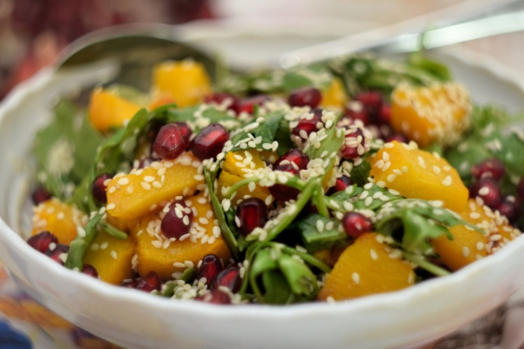 Pumpkin, Pomegranate and Arugula Salad